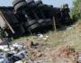 昨日翻车事故!响水六套附近大货车翻了!另外某车祸致1人死亡!